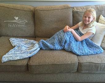 Mermaid Tail Blanket, Mermaid Gift, Children's Bedding, Mermaid Tail Blanket Adult, Handmade Afghan, Crochet Throw, Chunky Crochet, Heirloom