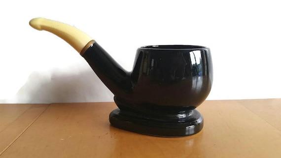 Decorative Clay Pipe : Vintage large black ceramic tobacco pipe decorative bowl