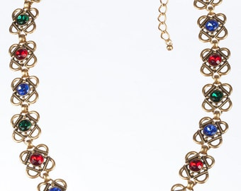 Oscar de la Renta Gold Plated Necklace or Belt with Gripoix Rhinestones