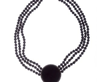 Onyx Bead and Marcasite Necklace