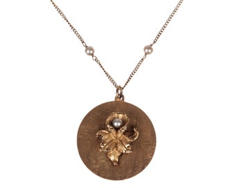 14 kt Yellow Gold and Cultured Pearl and Flower Charm Necklace