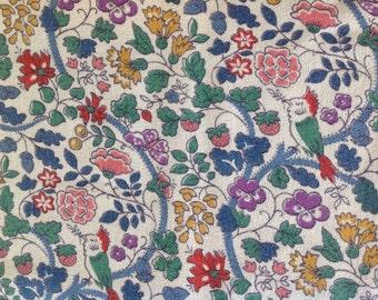 Vintage bird, flowers, butterflies nd berry fabric, hemmed, cotton blend.