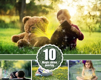 10 magic shine book present Photoshop Overlays, Fantasy christmas Photo overlays, shine sparkles photo effect, magic pixie dust effect, png