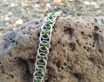 Green and Silver Helm Weave Bracelet