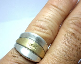 Sterling and Gold Ring, 925 silver Ring, men's ring, hand made Sterling, gold ring, free shipping.