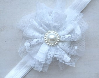 Baby christening headband, baptism headband, infant headband, newborn headband, white pearl headband, bling headband, flower baby girl band
