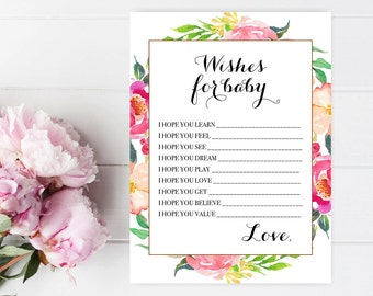 Wishes for baby printable Wishes for baby girl Printable baby shower games Floral baby shower games Baby shower game cards Elegant Chic 5x7