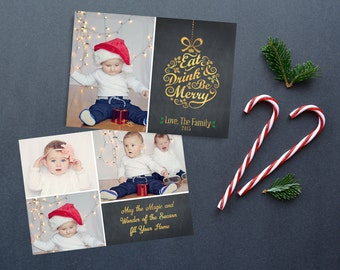 Photo Christmas Card, Chalkboard Christmas Card, Holiday Card, Gold Christmas Card, Chalkboard Holiday Christmas Card PRINTABLE