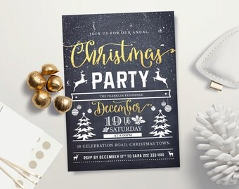 Christmas Party Invitation - Winter Chalkboard Holiday Party Invitation -  DIY Christmas Party Invitation Holiday Event - Printable