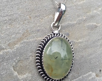 Miracle Aligner' Moss Prehnite Sterling Silver Pendant Necklace