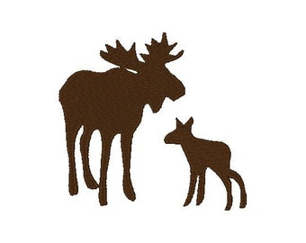 Moose and Baby Embroidery Design, 4x4, 5x7, Instant Download