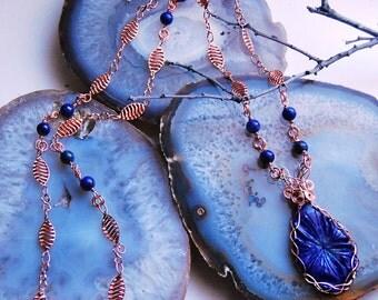 Unique Copper Necklace with Lapis Lazuli Pendant