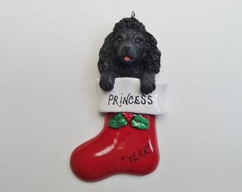 Poodle Personalized Ornament - Poodle Ornament - White Poodle Ornament - Gray Poodle Ornament - Black Poodle Ornament