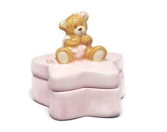 Vintage Keepsake Box, Keepsake Box, Tooth Fairy Box, Trinket Box, Baby's First Keepsake Tooth Box, First Tooth Box, Pink Trinket Box
