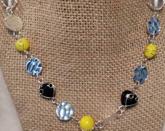 Black, Clear, and Yellow Wire Wrapped Beaded Necklace