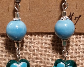 Blue Heart Shaped Millefiori Dangle Fish Hook Earrings