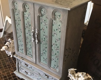 Wooden Jewelry Armoire // Shabby Chic Vintage Upcycled Jewelry Box
