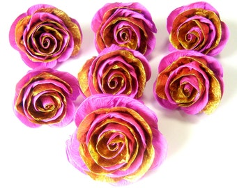 12 large crepe paper flowers pink gold Roses girl bridal kate baby spade shower Photo backdrop wedding Wall paris party birthday Quinceañera