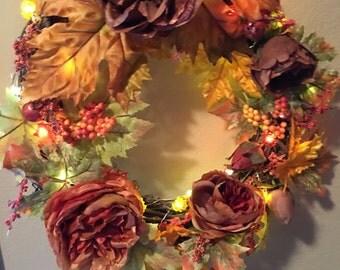 Fall Roses wreath/ Lights