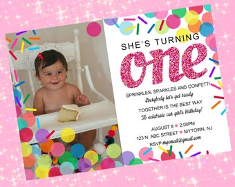 Confetti, Sprinkles, and Sparkles Birthday Invitation, Personalized Photo Party Invite - Printable Digital File
