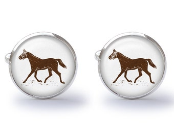 Brown Horse Cufflinks (Pair) Lifetime Guarantee