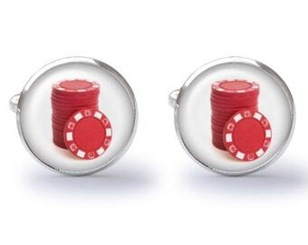 Poker Chip Cufflinks - Poker Cufflinks - Gambler Cufflink - Vegas Wedding (Pair) Lifetime Guarantee (S0292)
