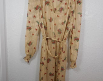 VINTAGE  DRESS Size Small 4 6 8  1960's nearly sheer floral print * awesome look *