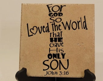 For God so Loved the World ceramic tile with stand