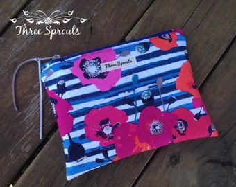 Clutch Bag, clutch purse- Grace Skopelos fabric clutch, zipper pouch