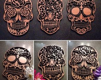 Pack of 3 Walnut Veneered Sugar Skull Wall Art