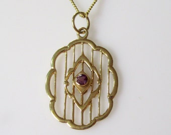 9ct Gold Amethyst Pendant and Chain