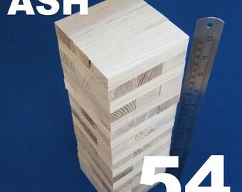 Lot 54 wooden stacking tumbling tower like JENGA blocks ASH wood family board game