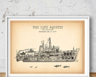 THE BELAFONTE patent print, The Belafonte poster, The Belafonte blueprint, The Belafonte illustration, The Life Aquatic, Steve Zissou, #1311