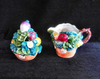 Fitz and Floyd Cream and Sugar Vegetable Garden Motif