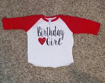 Glittered Raglan Birthday Girl Shirt (raglan Shirt)
