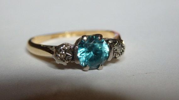sale antique vintage blue zircon ring 18k and