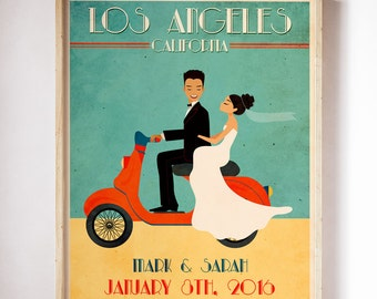 Wedding Art Vintage  Wedding Register Wedding Poster Retro Wedding Poster Couple Portrait Personalized Wedding Poster  Unique Wedding Gift