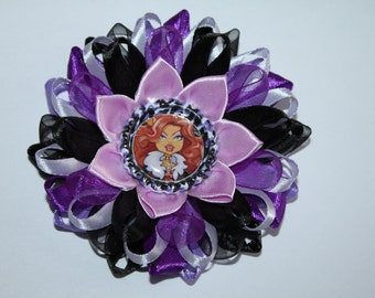 "Handmade ""Monster High""- Clawdeen Inspired Girl's Hair Clip, Kanzashi Style"