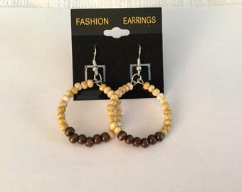 Beige and Brown Hoop Earrings