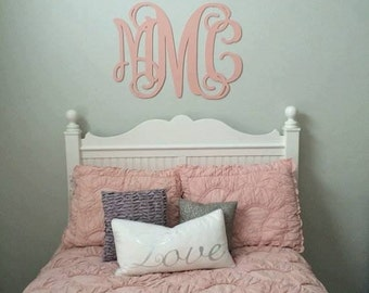 Wooden Monogram Wall Hanging Etsy - Monogram wall decal for kids
