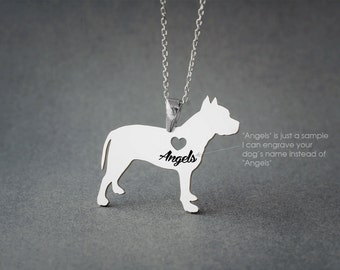 PITBULL Name Necklace - Pitbull Name Necklace - Personalised Necklace - Dog breed Necklace - Dog Necklace