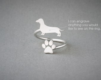 Adjustable Spiral DACHSHUND and PAW Ring / Doxie Shorthaired  Ring / Paw Ring /Dog Ring / Silver, Gold Plated or Rose Plated.