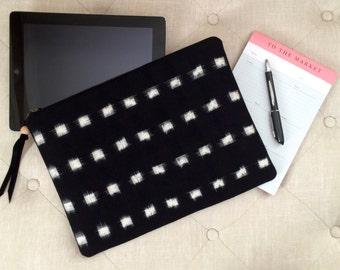 iPad case, Tablet case, iPad sleeve, Tablet sleeve, iPad cover, Tablet cover, Tech pouch, Ikat fabric, Zippered iPad case, iPad travel case
