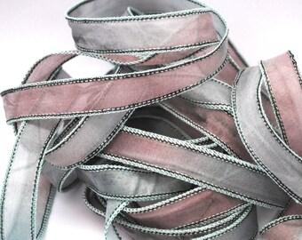 Hand dyed silk ribbon- habotai- silkwrap- silk wrapbracelet-satin-green-mintgreen-brown