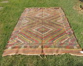 6x8 ft. Colorful Wool Turkish kilim rug