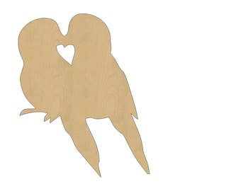 Lovebirds Cutout Shape Laser Cut Unfinished Wood Shapes, Craft Shapes, Gift Tags, Ornaments #787 All Sizes