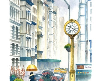 Fifth Avenue in the Rain: Watercolor Print