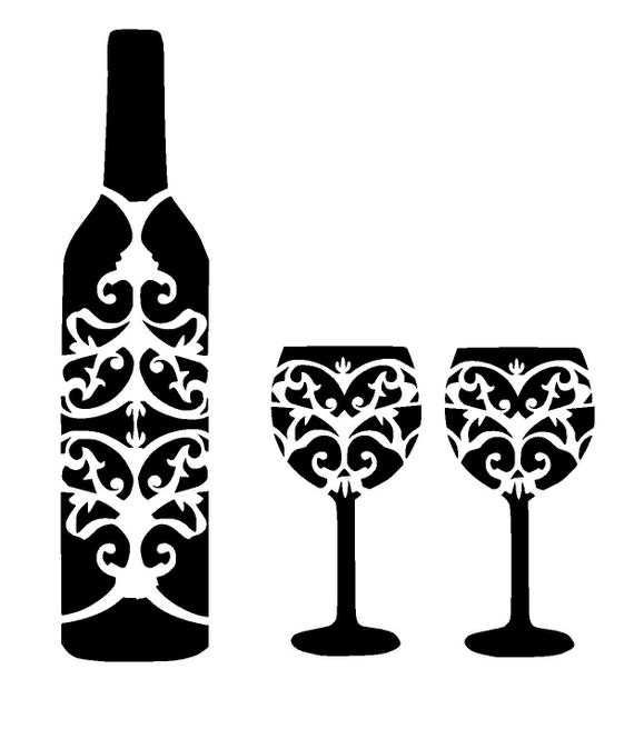 12 12 wine bottle and glass 39 s stencil