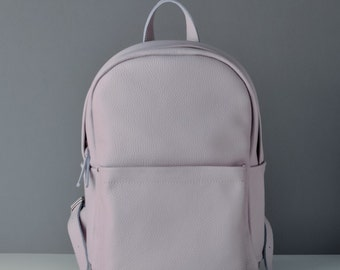 Lilac leather backpack- Carbon