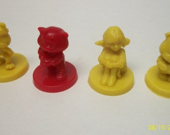 1985  Wendy And The Good Stuff Gang 4 Wendy's Collectible  Fast Food Toy Figures- Great Birthday Cake Toppers